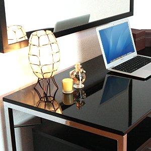 ワークデスク デザイン 高い質感のおしゃれな パソコンデスク ブラック 100-DESK039BK