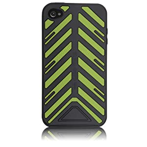 "Case-Mate iPhone 4 Vroom ""Torque"" Case with Screen Protector, Black/Green ブルーム ""トルク"" シリコンケース (液晶保護シート つき) ブラック/グリーン CM011808"