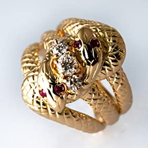 FukuFuku(フクフク) 蛇縁起リング 2匹3連 K18 ダイヤモンド 3石 0.29ct R-SN-H678