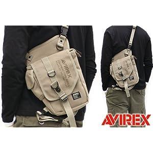 【クリックで詳細表示】AVIREX EAGLE ポリエステルキャンバス 2WAY レッグバッグ AVX348 ベージュ: シューズ&バッグ:通販