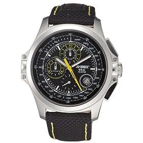 【クリックで詳細表示】[アビレックス]AVIREX 腕時計 強化ナイロン クロノ カーボン&ブラック メンズ AX-014M-1: 腕時計通販