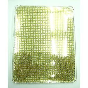 iPad/アップル アイパッド用デコレーションハードカバー ゴールドビーズ飾り